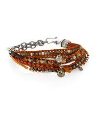 Chan Luu - Pyrite, Brown Sardonyx, Abalone, Labradorite & Leather Multi-strand Bracelet - Lyst