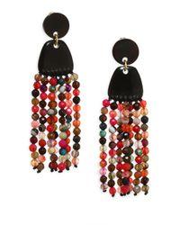 Nest - Multicolor Agate Tassel Earrings - Lyst