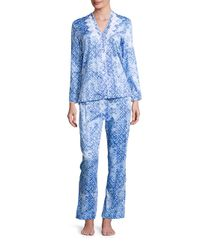 Oscar de la Renta - Blue Printed Cotton Sateen Pajama Set - Lyst