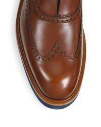 Ferragamo - Brown Frankfort Leather Wingtip Oxfords for Men - Lyst
