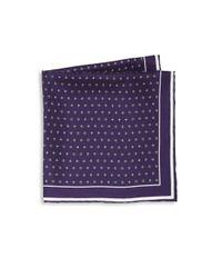 Hook + Albert - Purple Floral Printed Silk Pocket Square for Men - Lyst