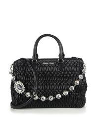 Miu Miu Black Women's Nappa Crystal Matelasse Leather Satchel - Bianco