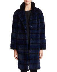 Saks Fifth Avenue - Blue Dyed Rabbit Fur Long Jacket - Lyst