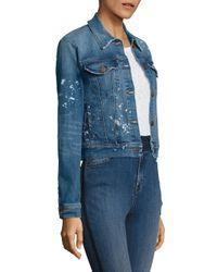 J Brand - Blue Harlow Paint Splatter Shrunken Jacket - Lyst