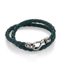 Tod's - Green Leather Double Wrap Bracelet - Lyst