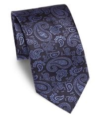 Canali - Blue Paisley Embroidered Silk Tie for Men - Lyst