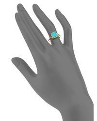 Ginette NY - Blue Wise Ever Turquoise & 18k Rose Gold Square Ring - Lyst
