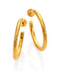 Gurhan - Metallic Edifice 24k Yellow Gold Classic Hoop Earrings/1.25 - Lyst