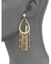 House of Lavande - Metallic Nihiwatu Mother-of-pearl & Crystal Double-sided Fringe Teardrop Earrings - Lyst