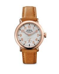 Shinola | Multicolor Runwell Rose Goldtone Pvd Stainless Steel & Leather Strap Watch | Lyst