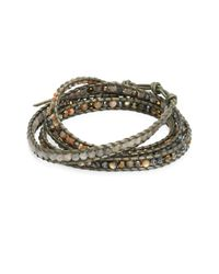 Chan Luu - Metallic Abalone, Labradorite, Crystal & Leather Beaded Wrap Bracelet - Lyst