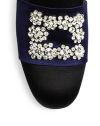 Roger Vivier | Blue Flower Crystal-buckle Satin Loafers | Lyst