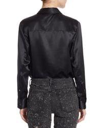 T By Alexander Wang   Black Long Sleeve Blouse Bodysuit   Lyst