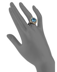Konstantino - Hermione Blue Topaz, 18k Yellow Gold & Sterling Silver Floral Ring - Lyst