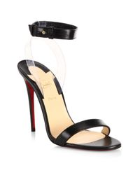 Christian Louboutin - Black Jonatina 100 Leather & Pvc Ankle-strap Sandals - Lyst