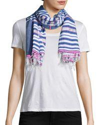 Lemlem - Blue Mini Striped Scarf - Lyst
