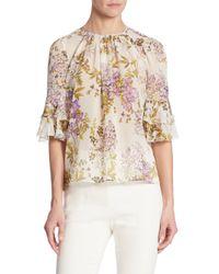 Giambattista Valli - White Garden Floral Silk Blouse - Lyst