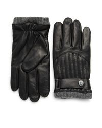 Polo Ralph Lauren - Black Quilted Leather Racing Gloves for Men - Lyst