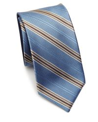 Saks Fifth Avenue - Blue Double Face Stripe Silk Tie for Men - Lyst
