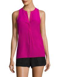 87996715d63c61 Lyst - Joie Aruna Pleated Silk Blouse in Pink