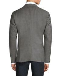 HUGO - Gray Regular-fit Micro-print Wool Blazer for Men - Lyst