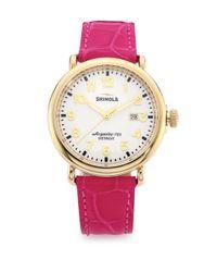 Shinola - Pink Runwell Goldtone Stainless Steel & Alligator Strap Watch - Lyst