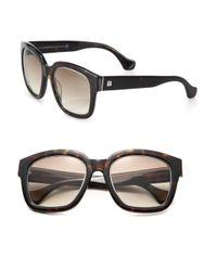 Balenciaga - Black 52mm Square Tortoise Acetate & Metal Sunglasses - Lyst