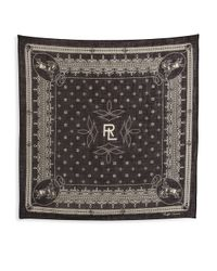Ralph Lauren - Black Purple Label Cotton Bandana Scarf - Lyst