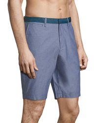 Original Penguin - Blue Solid Cotton Shorts for Men - Lyst