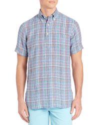 Polo Ralph Lauren - Blue Plaid Half-placket Button-down Shirt for Men - Lyst