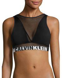 Calvin Klein   Black Logo Printed Band Bralette   Lyst