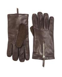 Want Les Essentiels De La Vie - Brown Mozart Leather & Suede Zip Gloves for Men - Lyst