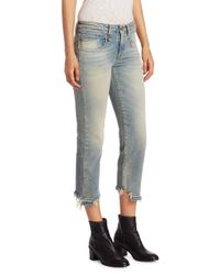 R13 - Blue Washed Straight Leg Jeans - Lyst