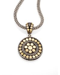 John Hardy - Metallic Dot 18k Yellow Gold & Steling Silver Small Round Pendant - Lyst