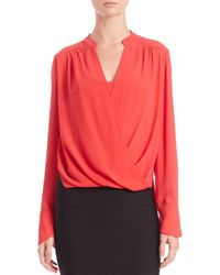 BCBGMAXAZRIA - Red Jaklyn Draped Front Blouse - Lyst