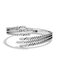 David Yurman - Metallic Willow Open Three-row Bracelet With Diamonds - Lyst