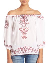 Poupette - White Abel Off-the-shoulder Embroidery Top - Lyst