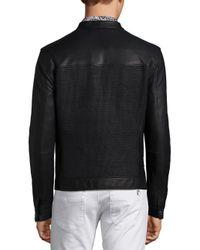 Versace - Black Woven Lambskin Leather Jacket for Men - Lyst