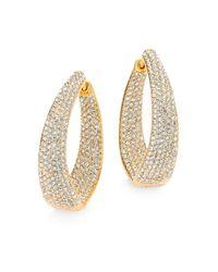 Adriana Orsini | Metallic Crystal Pave Twist Hoop Earrings/1.25 | Lyst