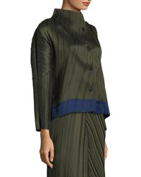 Issey Miyake | Green Pleated Button-front Jacket | Lyst