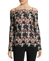 Yigal Azrouël - Black Off-the-shoulder Lace Top - Lyst
