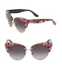 Dolce & Gabbana - Brown Sicilian Carretto 52mm Acetate & Metal Cat's-eye Sunglasses - Lyst