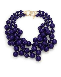 Kenneth Jay Lane - Blue Beaded Statement Necklace - Lyst