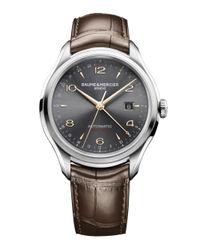 Baume & Mercier - Metallic Clifton 10111 Dual Time Stainless Steel & Alligator Strap Watch for Men - Lyst