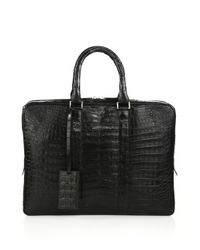 Santiago Gonzalez Brown Men's Crocodile Slim Briefcase - Grey for men