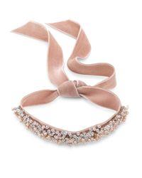 Fallon - Multicolor Monarch Bardot Faux-pearl Velvet Wrap Choker - Lyst