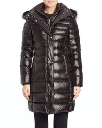Andrew Marc - Black Gayle Fox Fur-trimmed Puffer Coat - Lyst