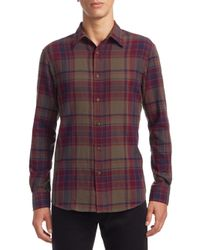 Ralph Lauren Purple Label - Purple Crinkle Plaid Casual Button-down Shirt for Men - Lyst