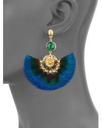 Gas Bijoux - Blue Serti 24k Goldplated & Peacock Feather Fan Earrings - Lyst