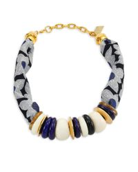 Lizzie Fortunato - Blue Floral Kanga Necklace - Lyst